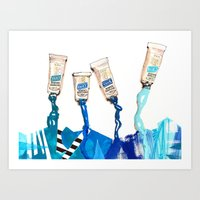blues Art Prints featuring Blues by ST STUDIO