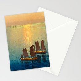 Hiroshi Yoshida Vintage Japanese Woodblock Art Ocean Sunset Sailboat Orange Blue Color Hues Stationery Cards