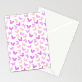 Purple  pink butterflies patterm Stationery Cards