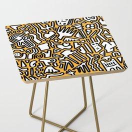 black doodle on orange Side Table