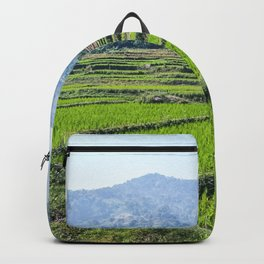 Farmland | Rice Fields Asian European Agriculture Green Landscape Photograph Rolling Hills Mountain Backpack