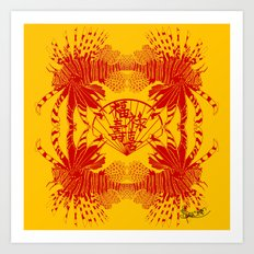 Chinese Cut Out Lion Fish Art Print