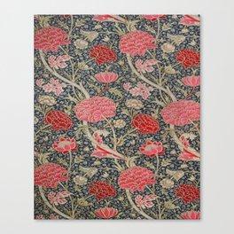 William Morris Floral Red and Pink Art Nouveau Textile Patter Canvas Print