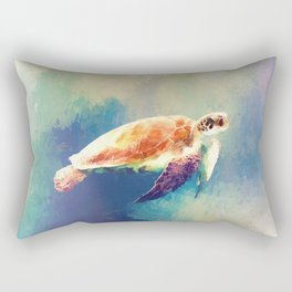 Sea Turtle Painting Rectangular Pillow