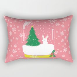 Bunny in Christmas Mason Jar Rectangular Pillow