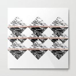 Modern Chic Black White Marble and Rose Gold Strip Metal Print