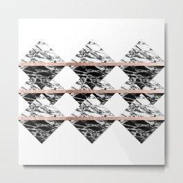Modern Chic Black White Marble and Rose Gold Strip Metal Print