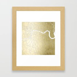 Gold on White London Street Map II Framed Art Print