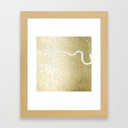 Gold on White London Street Map II Framed Art Print