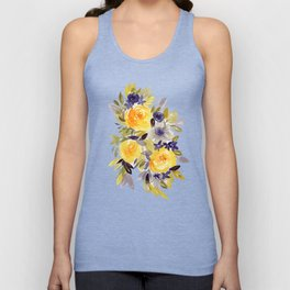 Floral 12 - Abstract Floral Watercolor Roses Unisex Tank Top