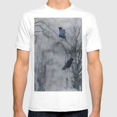 Crows In A Gothic Gray Wash MEDIUM White Mens Fitted Tee