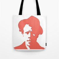 tom waits Tote Bags featuring Tom Waits in Red by JennFolds5 * Jennifer Delamar-Goss