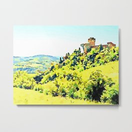 Brisighella: landscape with castle Metal Print