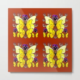 RUST COLORED YELLOW  BUTTERFLY & PANSY FLORAL Metal Print