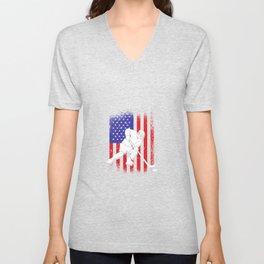 Hockey USA America flag ice hockey Unisex V-Neck