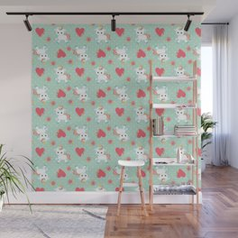 Baby Unicorn with Hearts Wall Mural