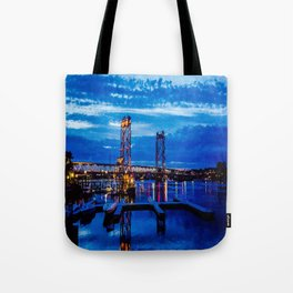 Night Bridge Lights Tote Bag
