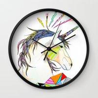 unicorn Wall Clocks featuring Unicorn by Belén Segarra