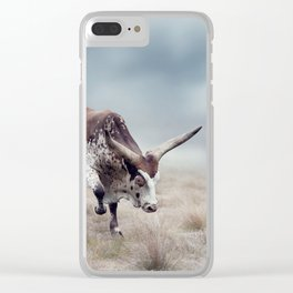 Brown and white longhorn steer in a grassland Clear iPhone Case
