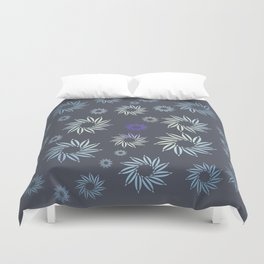 Multicolored flowers with neutral background in pastel colors. Duvet Cover