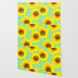 Sunflowers on a pastel green backgrond  Wallpaper