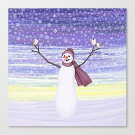 snowman with tufted titmice Canvas Print
