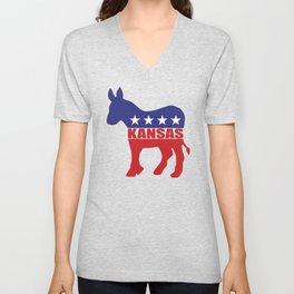 Kansas Democrat Donkey Unisex V-Neck