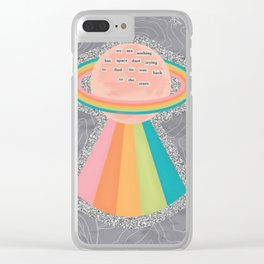 Space Dust Rainbow Planet Clear iPhone Case