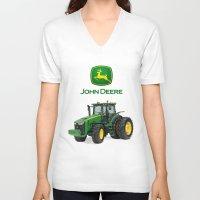 john green V-neck T-shirts featuring John Deere Green Tractor by rumahcreative