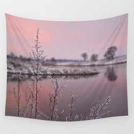 Winter Sunset At River Bank Wall Tapestry
