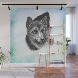"""""""Lone Wolf"""" - Charcoal Portrait Wall Mural"""