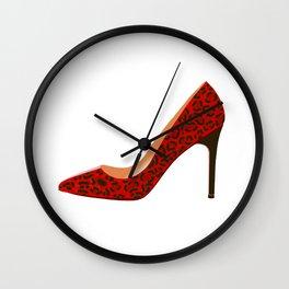 Red Leopard Print High Heel Shoe Wall Clock