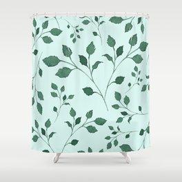Light Cyan Soft Mint Green Leaves Greenery Pattern Modern Décor Shower Curtain