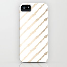Simply Diagonal Stripes in White Gold Sands on White iPhone Case