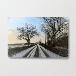 Snowy road near Blair Drummond Metal Print