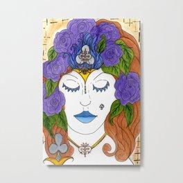 Queen of Clubs Metal Print