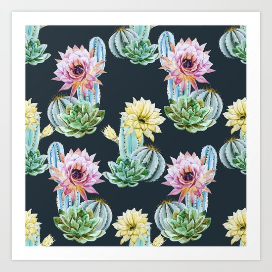 Cactus Pattern 07 Art Print