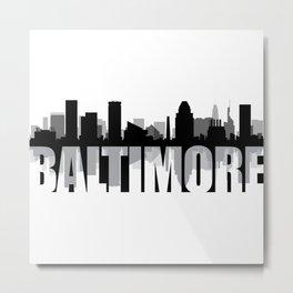 Baltimore Silhouette Skyline Metal Print