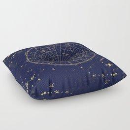 Metallic Gold Vintage Star Map 2 Floor Pillow