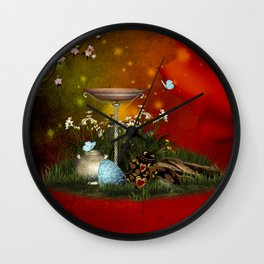 Easter eggs with butterflies Wall Clock