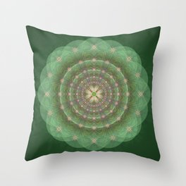 Blessing Mandala green - מנדלה ברכה ירוק Throw Pillow