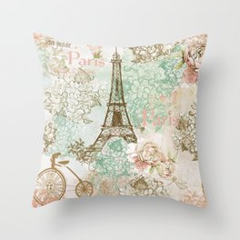I love Paris - Vintage Shabby Chic - Eiffeltower France Flowers Floral Throw Pillow