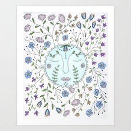 Chanson de la lune bleue Art Print