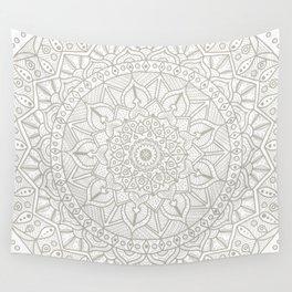 Gray Circle of Life Mandala on White Wall Tapestry