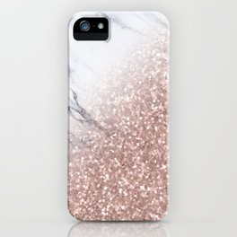 Blush Pink Sparkles on White and Gray Marble V iPhone Case