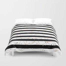 Vintage Black and White Stripes Gold Geometric Pattern Duvet Cover