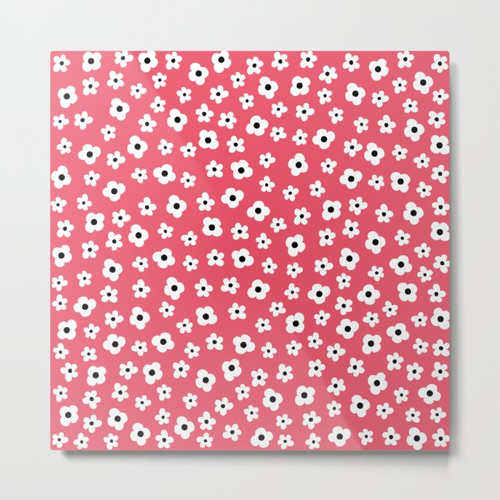 Coral White Spring Flower Pattern Metal Print