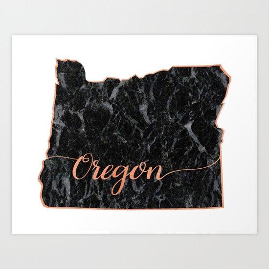 Oregon Rosegold Marble Map Outline Art Print