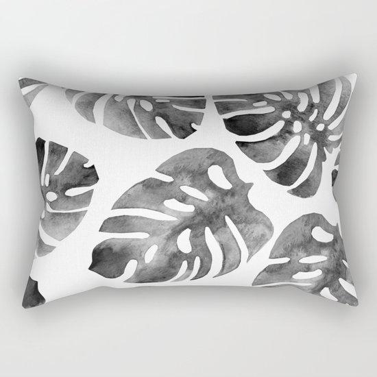 Monstera Black Rectangular Pillow