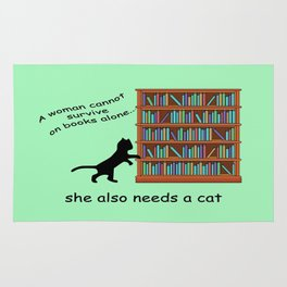 Cats and Books Rug